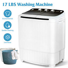 17LBS Portable Compact Washing Machine Twin Tub Laundry Washer Spiner Dryer BLK