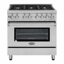 36  Stainless Steel 6 Burner Kitchen Dual Fuel Electric Gas Range Oven 4 5 Cu Ft