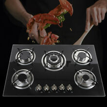 30  Built in 5 Burner GAS Cooktop Stove Cook Top   Tempered Glass NG Hob Cooker