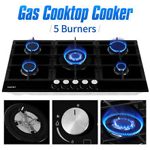 4 5 Burners Cooktop Built in Gas Stove Hob LPG NG Stainless Steel Tempered Glass