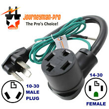 NEW FEMALE 14 30R 4 PRONG RECEPTACLE to OLD MALE 10 30P 3 PIN PLUG DRYER ADAPTER