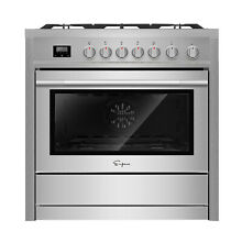 Empava 36  Slide In Single Oven Gas Range with 5 Burners Cooktop Stainless Steel