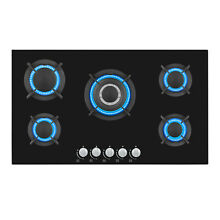 Empava 34  Gas Cooktop 5 Burners Stove NG LPG Convertible Glass Cooker 34GC5L90A