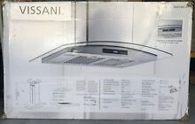 Vissani Island Mount Range Hood 36 in  LED Glass Touch Panel Stainless Steel