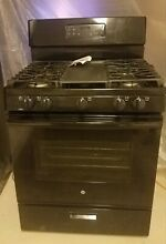 Great GE 5 Burner Gas Stove Oven Steam Clean W  Grill Plate Black
