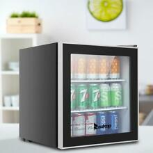 Beverage Center Soda Beer Bar Stainless Steel Mini Fridge Cooler 1 6Cu LED light