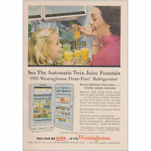1955 Westinghouse Refrigerator  Twin Juice Fountain Vintage Print Ad