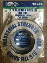 NEW EASTMAN 6  Steel Flex Washing Machine Hoses 2 Pack Hot   Cold  0333488