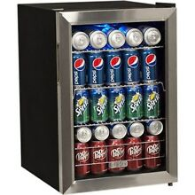 Compact 84 Can Stainless Steel Beverage Center  Black Countertop Refrigerator