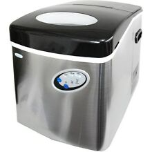 Stainless Steel 50 Lb Large Portable Ice Maker  Compact Countertop Cube IceMaker