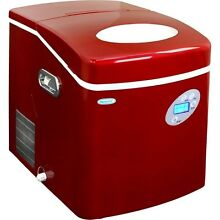 Large Red 50 Lb Countertop Portable Ice Machine  Compact Electric Cube IceMaker