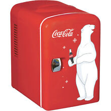 Mini Coca Cola Can Countertop Fridge  Compact Beverage Personal Coke Soda Gift