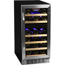 Compact 26 Bottle Built In Dual Zone Wine Cooler  Stainless Steel Chill Fridge