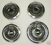 BM2 Range Elements Burners Set Chrome Drip Pans Bowls for Whirlpool and others