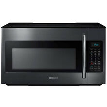 Samsung ME18H704SFG 1 8 Cu  Ft  1000W Black Stainless Over the Range Microwave