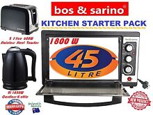 BOS   SARINO Kitchen Starter Pack 45L Oven  2 Slice Toaster   2L Cordless Kettle