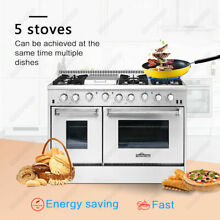 HRG4808U Thor 48 inch Gas Range Double Oven 6 Burner Cooktop Stainless Steel
