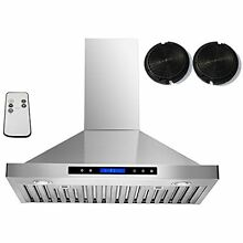 AKDY Range Hoods 30  Convertible Stainless Steel Wall Mount Ductless Ventless