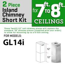 ZLINE SHORT CHIMNEY KIT ISLAND RANGE HOOD under 8 FT ceiling GL14i models only