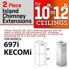 ZLINE CHIMNEY EXTENSION ISLAND RANGE HOOD UPTO 12 FT ceiling KECOMi  697i