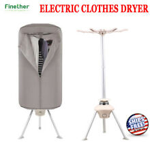 Portable Electric Clothes Dryer Heater Drying Wardrobe Machine W  Timer 1000W US