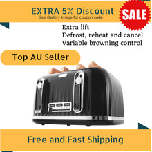 4 Slice Euro Bread Toaster Black Kitchen Diner Table Top Oven Small Appliances