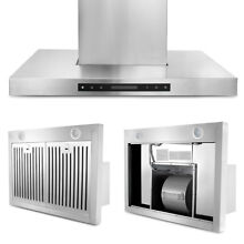 Led Panel Range Hood Stove Vent Fan Kitchen Stainless Steel 36  Wall Mount CFM
