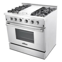 36  Gas Range Stainless Steel 4 Burner Cooker THOR KITCHEN TOOL w Griddle