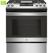 5 0 cu  ft  Slide In Gas Range with Steam Clean Oven in Stainless Steel