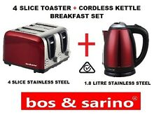 Gorgeous Premium Red Metallic Kitchen Set 4 Slice Toaster   Cordless Kettle Nice