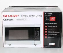 Sharp R 331ZS Carousel Microwave Oven 1 1 cu ft 1000w Stainless Steel W45 PICKUP