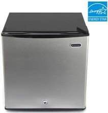 Upright Freezer Compact w  Keyed Lock Manual Defrost Stainless Steel 1 1 cu ft