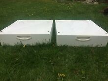 Two  2  preowned washer dryer pedestals with drawer storage  white 27