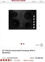 KitchenAid 30 in KCED600GBL Electric Glass Cooktop Downdraft Exhaust Black  2099