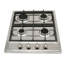WINDMAX 60cm Cooktops Gas Hob Built In 4 Burnes NG LPG Gas Stove Stainless Steel