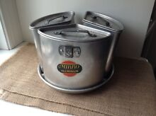 VINTAGE MIRRO STOVE ALUMINUM TRIO POT SET DEEP WELL WITH TRAY