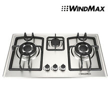 Stainless Steel 3 Burner Gas Cooktop Hob Wok Nat Gas LPG Silver 71CM Gas Cooktop