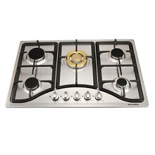 30  5 Burners Built in Cooktops Stainless Steel  WIth Gold Burner Cap Gas Hob