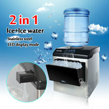 40lb 2 IN 1 Stainless Steel Ice Cube Maker Machine Countertop Ice Water Machine