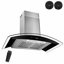30  Wall Mount Black Ductless Stainless Steel Range Hood Stove Vents Kitchen