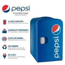 Pepsi Vintage Portable 6 Can Mini Fridge Cooler Warmer   Compact Portable