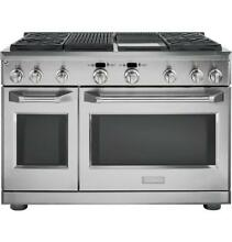 GE Monogram ZDP484NGPSS 48  Dual Fuel Pro Range 4 Burners  Grill  and Griddle