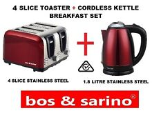 Premium Red Metallic Kitchen Set 4 Slice Toaster   Cordless Kettle Stainless Set