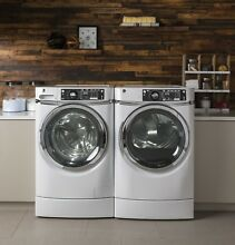 GE GFW490RSKWW  GFD49ERSKWW RightHeight Side by Side Washer   Dryer Set