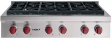 Wolf SRT366 LP 36  Inch LP Propane Gas Stainless Rangetop   Cooktop w  Red Knobs