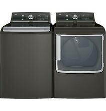 GE LAUNDRY PAIR GTD86ESPJMC   GTW810SPJMC FRONT LOAD WASHER ELECTRIC DRYER