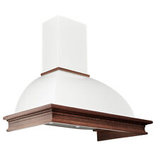 35  Vitale Series Wall Mount Range Hood White with Stained Wood Trim 600 CFM