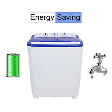 Rovsun Portable Mini Compact Twin Tub 16lb Washing Machine Washer Spin Spinner A