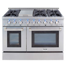 48  Gas Range HRG4808U Double Oven Stainless Steel Griddle 6 Burner Updates Thor