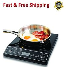 Induction Cooktop Countertop Burner 1800 Watts Black Digital Timer Portable New